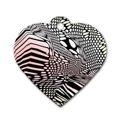 Abstract Fauna Pattern When Zebra And Giraffe Melt Together Dog Tag Heart (One Side)