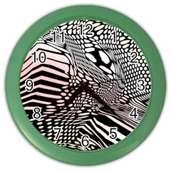 Abstract Fauna Pattern When Zebra And Giraffe Melt Together Color Wall Clocks