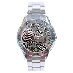 Abstract Fauna Pattern When Zebra And Giraffe Melt Together Stainless Steel Analogue Watch