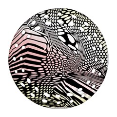 Abstract Fauna Pattern When Zebra And Giraffe Melt Together Round Filigree Ornament (Two Sides)