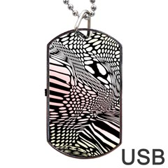 Abstract Fauna Pattern When Zebra And Giraffe Melt Together Dog Tag Usb Flash (one Side)