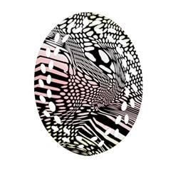Abstract Fauna Pattern When Zebra And Giraffe Melt Together Ornament (oval Filigree)