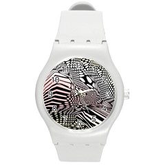 Abstract Fauna Pattern When Zebra And Giraffe Melt Together Round Plastic Sport Watch (m)