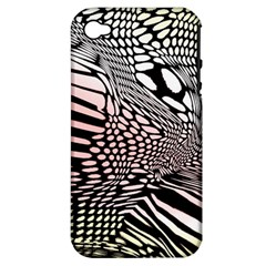 Abstract Fauna Pattern When Zebra And Giraffe Melt Together Apple Iphone 4/4s Hardshell Case (pc+silicone)