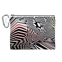 Abstract Fauna Pattern When Zebra And Giraffe Melt Together Canvas Cosmetic Bag (L)