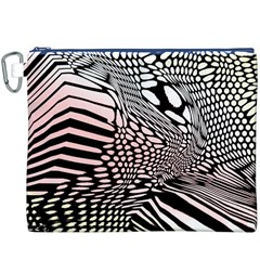Abstract Fauna Pattern When Zebra And Giraffe Melt Together Canvas Cosmetic Bag (xxxl)