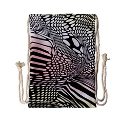 Abstract Fauna Pattern When Zebra And Giraffe Melt Together Drawstring Bag (small)