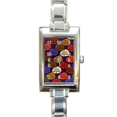 Colorful Trees Background Pattern Rectangle Italian Charm Watch
