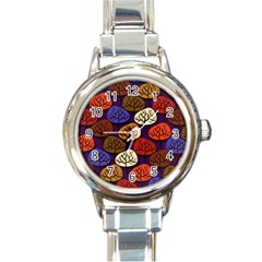 Colorful Trees Background Pattern Round Italian Charm Watch