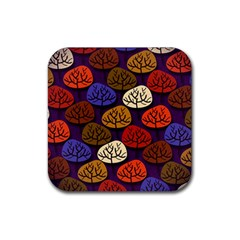 Colorful Trees Background Pattern Rubber Square Coaster (4 Pack)