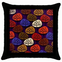 Colorful Trees Background Pattern Throw Pillow Case (black)