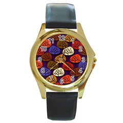 Colorful Trees Background Pattern Round Gold Metal Watch