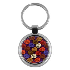 Colorful Trees Background Pattern Key Chains (Round)