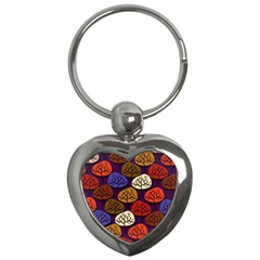 Colorful Trees Background Pattern Key Chains (heart)