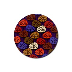 Colorful Trees Background Pattern Rubber Coaster (Round)