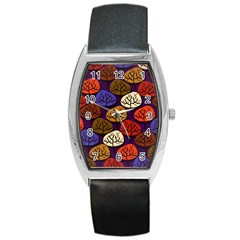 Colorful Trees Background Pattern Barrel Style Metal Watch