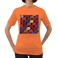 Colorful Trees Background Pattern Women s Dark T Shirt