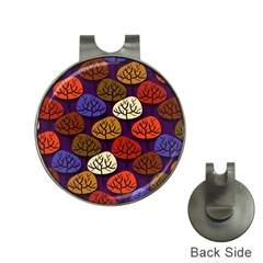 Colorful Trees Background Pattern Hat Clips With Golf Markers