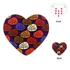 Colorful Trees Background Pattern Playing Cards (heart)