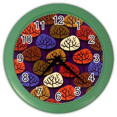 Colorful Trees Background Pattern Color Wall Clocks
