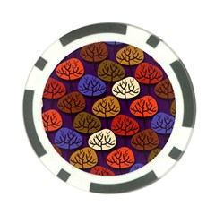 Colorful Trees Background Pattern Poker Chip Card Guard (10 Pack)
