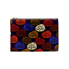 Colorful Trees Background Pattern Cosmetic Bag (medium)