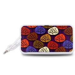 Colorful Trees Background Pattern Portable Speaker (white)