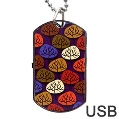 Colorful Trees Background Pattern Dog Tag USB Flash (Two Sides)