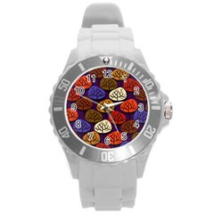 Colorful Trees Background Pattern Round Plastic Sport Watch (L)