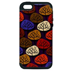 Colorful Trees Background Pattern Apple Iphone 5 Hardshell Case (pc+silicone)