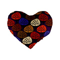 Colorful Trees Background Pattern Standard 16  Premium Heart Shape Cushions