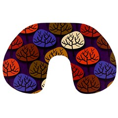 Colorful Trees Background Pattern Travel Neck Pillows