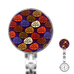 Colorful Trees Background Pattern Stainless Steel Nurses Watch