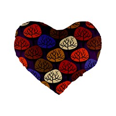 Colorful Trees Background Pattern Standard 16  Premium Flano Heart Shape Cushions