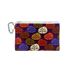 Colorful Trees Background Pattern Canvas Cosmetic Bag (s)