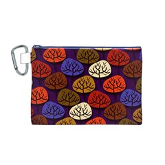 Colorful Trees Background Pattern Canvas Cosmetic Bag (M)