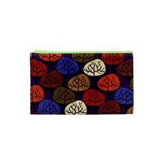 Colorful Trees Background Pattern Cosmetic Bag (XS)