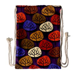 Colorful Trees Background Pattern Drawstring Bag (Large)