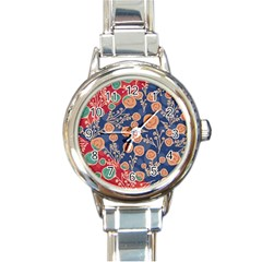 Floral Seamless Pattern Vector Texture Round Italian Charm Watch