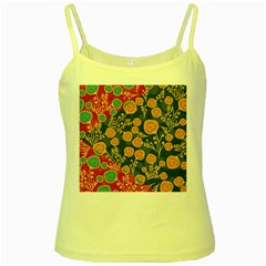 Floral Seamless Pattern Vector Texture Yellow Spaghetti Tank