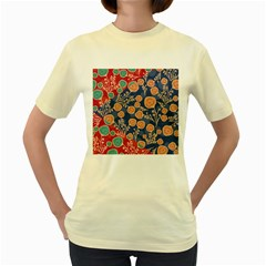 Floral Seamless Pattern Vector Texture Women s Yellow T-Shirt