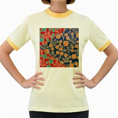 Floral Seamless Pattern Vector Texture Women s Fitted Ringer T Shirts