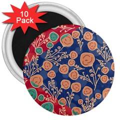Floral Seamless Pattern Vector Texture 3  Magnets (10 pack)