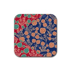 Floral Seamless Pattern Vector Texture Rubber Coaster (square)