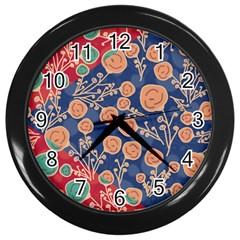 Floral Seamless Pattern Vector Texture Wall Clocks (black)