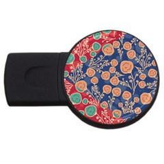 Floral Seamless Pattern Vector Texture USB Flash Drive Round (1 GB)