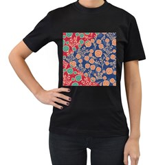Floral Seamless Pattern Vector Texture Women s T-Shirt (Black) (Two Sided)