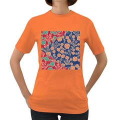 Floral Seamless Pattern Vector Texture Women s Dark T-Shirt