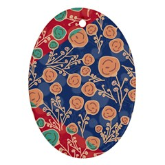 Floral Seamless Pattern Vector Texture Oval Ornament (two Sides)