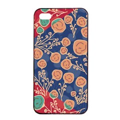 Floral Seamless Pattern Vector Texture Apple iPhone 4/4s Seamless Case (Black)